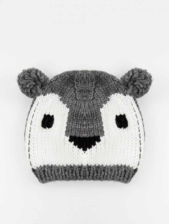 a9ab94328fc Pull   Bear Knitted Panda Hat. I think this grey beanie ...